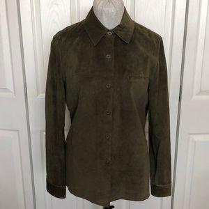 Olive Green Genuine Suede Leather Collared Shirt